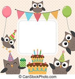πάρτυ, κάρτα, κουκουβάγιες