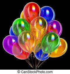 πάρτυ , μπαλόνι , γενέθλια , διακόσμηση , με πολλά χρώματα , επάνω , μαύρο