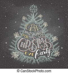 πάρτυ , παραμονή , chalkboard , xριστούγεννα , πρόσκληση