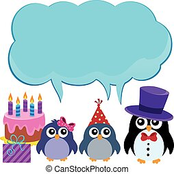 πάρτυ , πιγκουίνος , με , copyspace , θέμα , 1