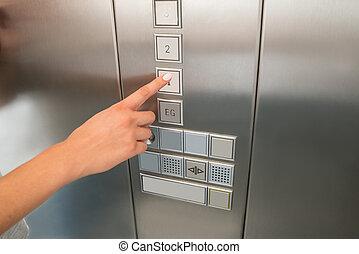 πάτωμα , κουμπί , ανελκυστήρας , χέρι , αντίτυπο δίσκου , female's, πρώτα