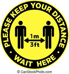 πάτωμα , sticker., ή , distancing, signage , κοινωνικός