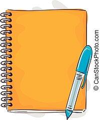 πένα , σημειωματάριο , ρυθμός , γελοιογραφία