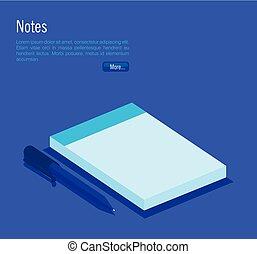 πένα , σημειωματάριο , isometric , απεικόνιση