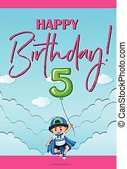 πέντε , γενέθλια , γριά , ευτυχισμένος , χρόνια