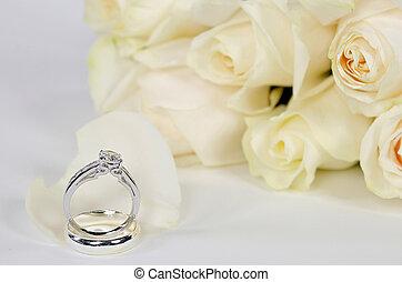 πέταλο άνθους , δακτυλίδι , διαμάντι , τριαντάφυλλο