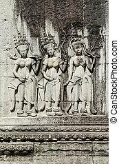 πέτρα , αρχαίος , καμπότζη , άγαλμα , ασιάτης , wat , κρόταφος , angkor , γλύφω