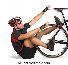 πέφτω , από , ποδήλατο