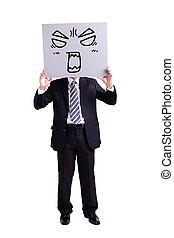 πίνακαs ανακοινώσεων , επιχειρηματίας , θυμωμένος , έκφραση , κράτημα