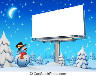 πίνακαs ανακοινώσεων , χιονάνθρωπος , copyspace , σειρά