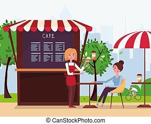 πίνω , μικροβιοφορέας , client., κατάστημα , καφέs , αόρ. του bring , δρόμοs , τέντα , γκαρσόνι , νέος , διαταγή , μικρό , διαμέρισμα , οδηγώ , πόλη , κορίτσι , ποδηλάτης , park., γελοιογραφία , past., καφέs , εικόνα