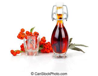 πίνω , ashberry, μίγμα , φόντο. , μπουκάλι , άσπρο