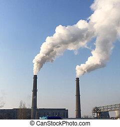 πίπα καπνίσματος , καπνός , εργοστάσιο , ρύπανση