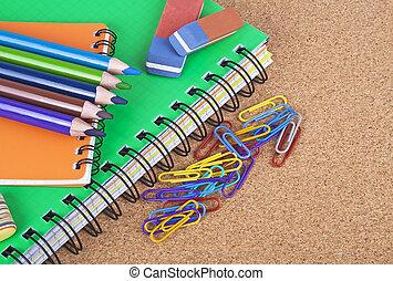 πίσω , ιζβογις , γραφείο , concept., εξαρτήματα , φελλός , σπουδαστής , board.