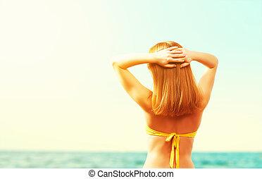 πίσω , κίτρινο , ευτυχισμένος , παραλία , μαγιό , γυναίκα , όμορφος