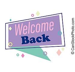 πίσω , λόγοs , μήνυμα , καλωσόρισμα , αφρίζω , retro αιχμηρή απόφυση , φόντο , reopening