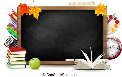 πίσω , να , school., μαυροπίνακας , με , ιζβογις , supplies., vector.