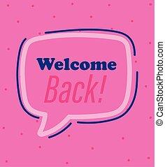 πίσω , ροζ , μήνυμα , καλωσόρισμα , ανακοινώνω , φόντο , reopening