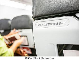 πίσω στήριγμα , πάνω , κάθισμα , στερεώνω , κλείνω , αεροπλάνο , ζώνη