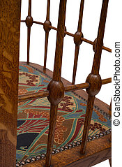 πίσω στήριγμα , spindles, από , ένα , αντίκα , ξύλινος , γεύμα , καρέκλα