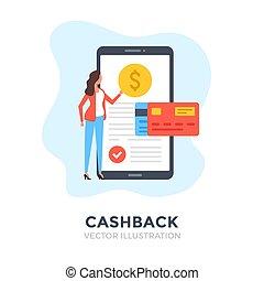 πίσω , cashback., μετρητά , εικόνα , διαμέρισμα , concepts., πορτοφόλι , κινητός , ακόλουθοι. , μεταφέρω , πληρωμή , μικροβιοφορέας , design., αναφερόμενος σε ψηφία αρμοδιότητα , χρήματα