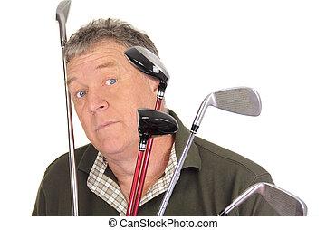 παίζων γκολφ , έκπληκτος
