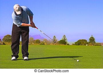παίζων γκολφ , ακουμπώ
