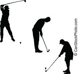 παίζων γκολφ , απεικονίζω σε σιλουέτα , μικροβιοφορέας , σύνολο