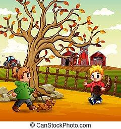 παίξιμο , εικόνα , αγρόκτημα , παιδιά
