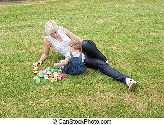 παίξιμο , familiy , κήπος