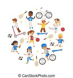 παίξιμο , icons., παιδιά , θέτω , μικροβιοφορέας , αθλητισμός , απομονωμένος , διάφορος