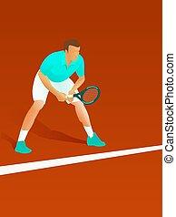παίχτης , αναμονή , tennis βατεύω , αρσενικό