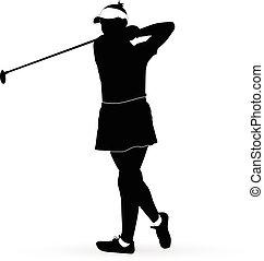 παίχτης , γυναίκα , γκολφ