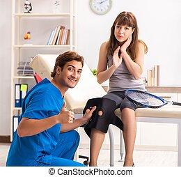 παίχτης , επίσκεψη , γιατρός , τένιs , traumatologist, νέος