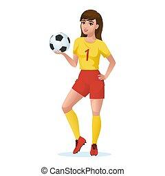 παίχτης , κορίτσι , ομοειδής , αθλητισμός , ποδόσφαιρο