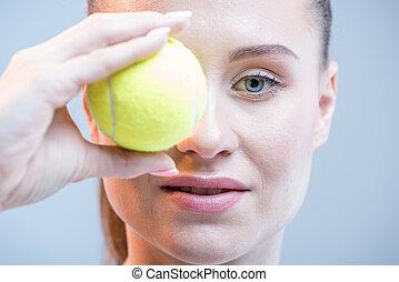παίχτης , μπάλα , γυναίκα , τένιs