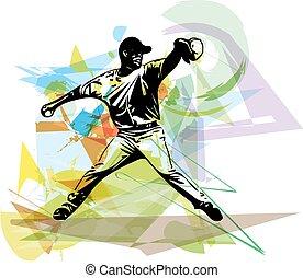 παίχτης , μπέηζμπολ , παίξιμο , εικόνα