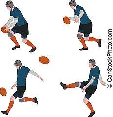 παίχτης , τέσσερα , rugby μπάλα , αντιδρώ , εικόνα , βήματα , χρώμα