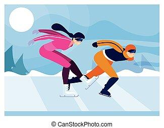 παγοδρομία , άσκηση , άνθρωποι , ταχύτητα , ζευγάρι