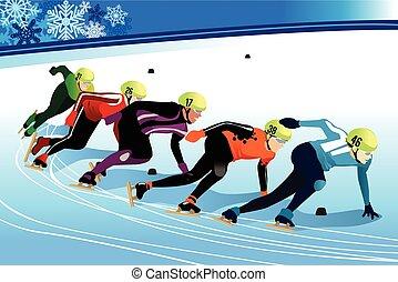 παγοδρομία , ταχύτητα , αθλητής , εικόνα , ανταγωνίζομαι