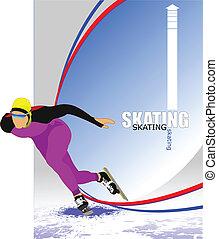 παγοδρομία , ταχύτητα , μικροβιοφορέας , poster., illust