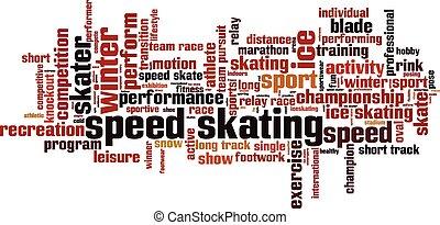 παγοδρομία , ταχύτητα , concept., λέξη , σύνεφο