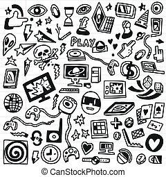 παιγνίδια , θέτω , - , doodles, ηλεκτρονικός υπολογιστής
