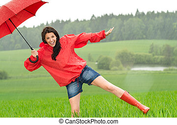 παιγνιδιάρης , κορίτσι , βροχή , ευτυχισμένος