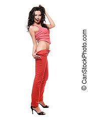 παιγνιδιάρης , μελαχροινή , νέος , κόκκινο , χονδρό παντελόνι εργασίας , όμορφη