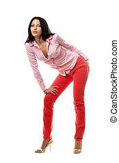 παιγνιδιάρης , μελαχροινή , χονδρό παντελόνι εργασίας , νέος , κόκκινο