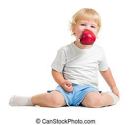 παιδί , αρμονία , μήλο , μέσα , στόμα