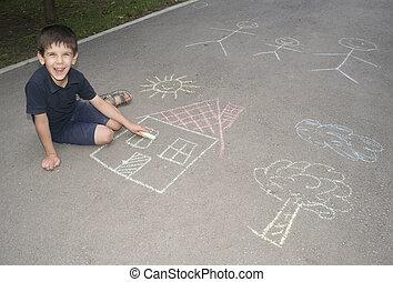 παιδί , ζωγραφική , ήλιοs , και , σπίτι , επάνω , asphal
