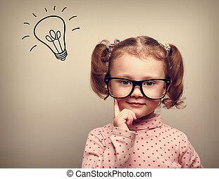 παιδί , κεφάλι , σκεπτόμενος , ιδέα , επάνω , βολβός , γυαλιά , ευτυχισμένος