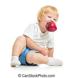 παιδί , κράτημα , μήλο , μέσα , στόμα